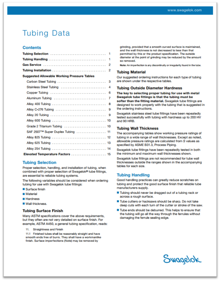 Swagelok Tubing Data Sheet