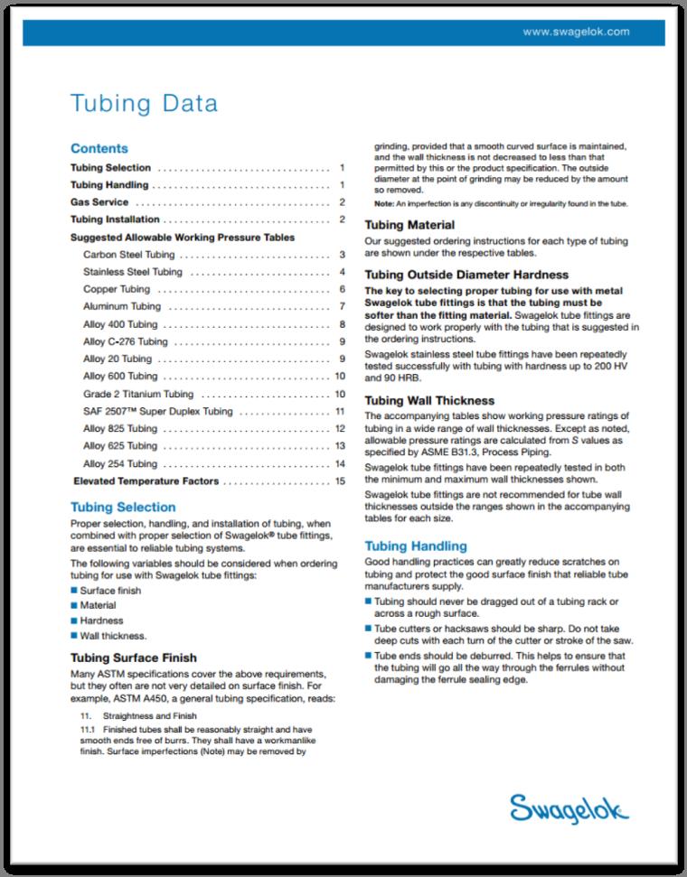 Swagelok Tubing Data Sheet